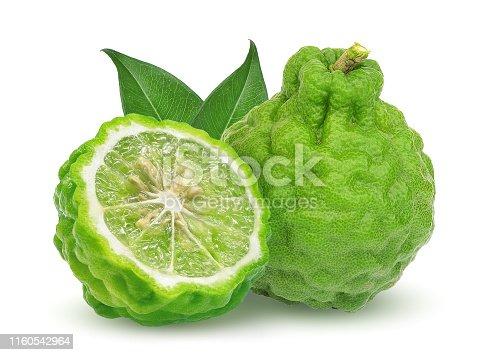 whole and half bergamot fruit with leaf isolated on white background