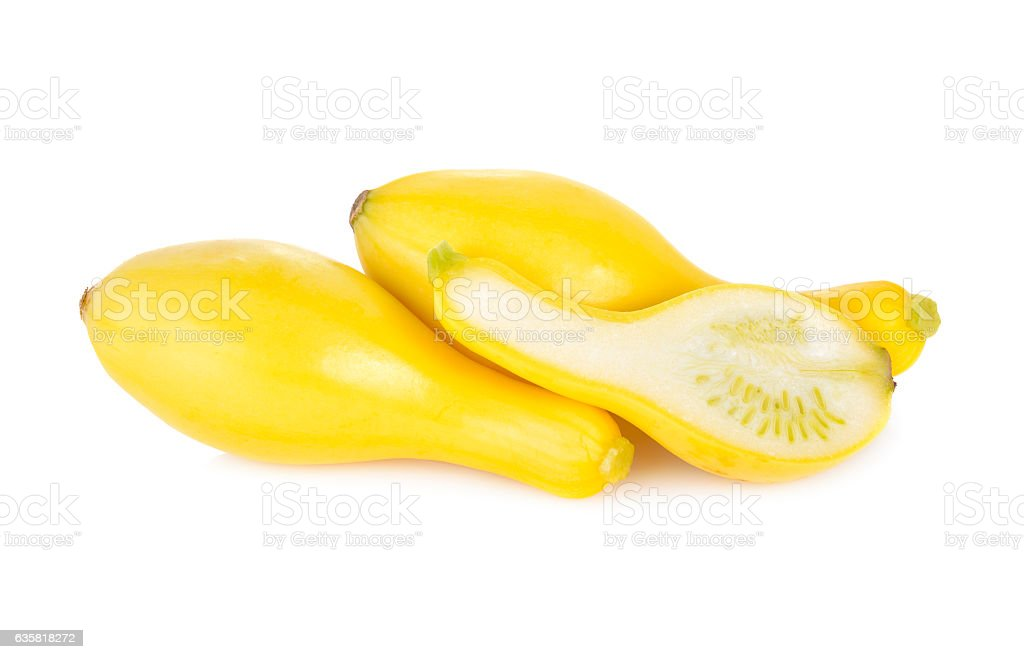 whole and half cut fresh squash crookneck on white background stock photo