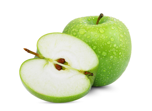 whole and half of green apple or granny smith apple with drop of water isloated on white background