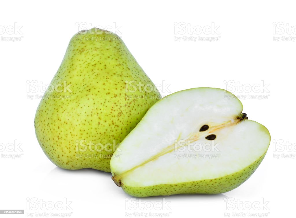 whole and half of green packham pear isolated on white background stock photo