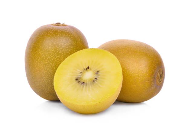 whole and half of yellow or gold kiwi fruit isolated on white background - kiwi imagens e fotografias de stock