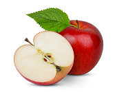 whole and half red apple with leaf isolated on white background