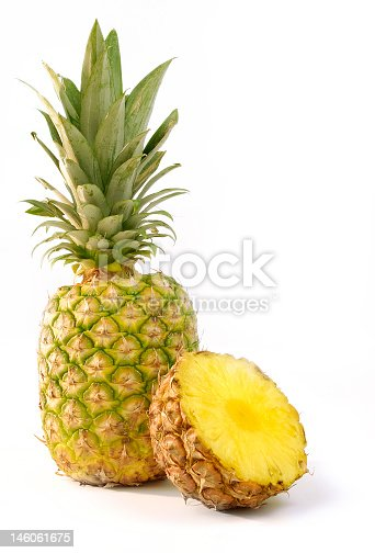 Pineapples Isolated on White.
