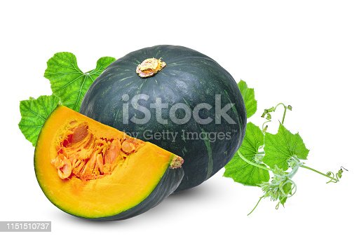 whole and slice green pumpkin with leaf isolated on white background
