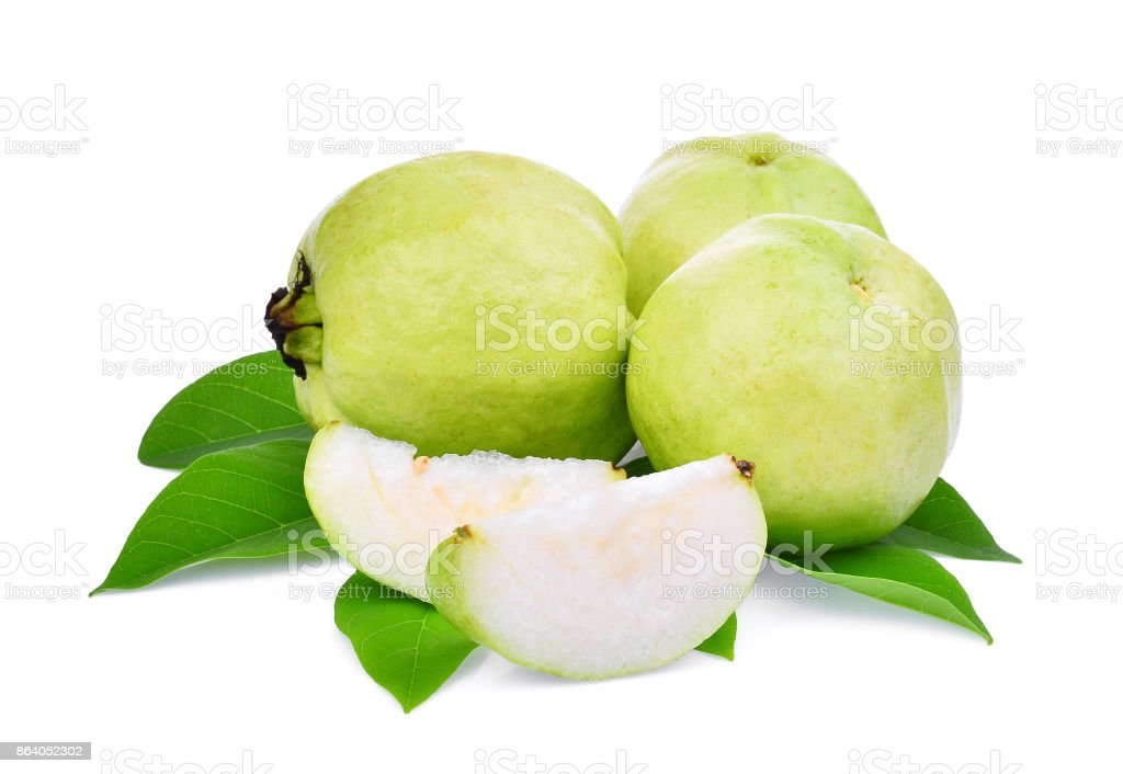 whole and slice guava fruit with green leaf isolated on white background stock photo
