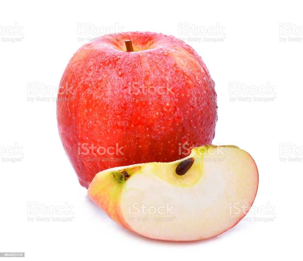 whole and slice of fresh gala red apple with drop of water  isloated on white background stock photo