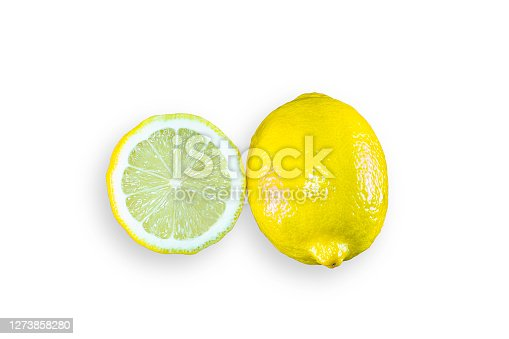 Whole and slice organic lemon on white isolated background with clipping path. Fresh lemon have high vitamin C and delicious sour taste for lemonade or cooking. Citrus or citron fruit concept.