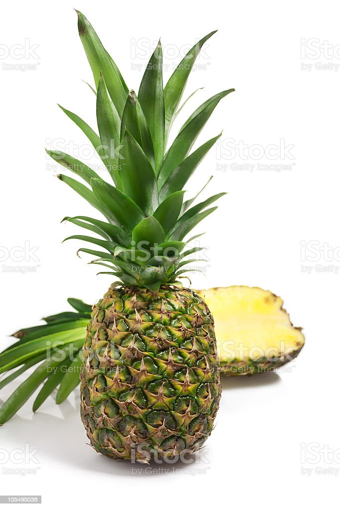 Whole and sliced Pineapple royalty-free stock photo
