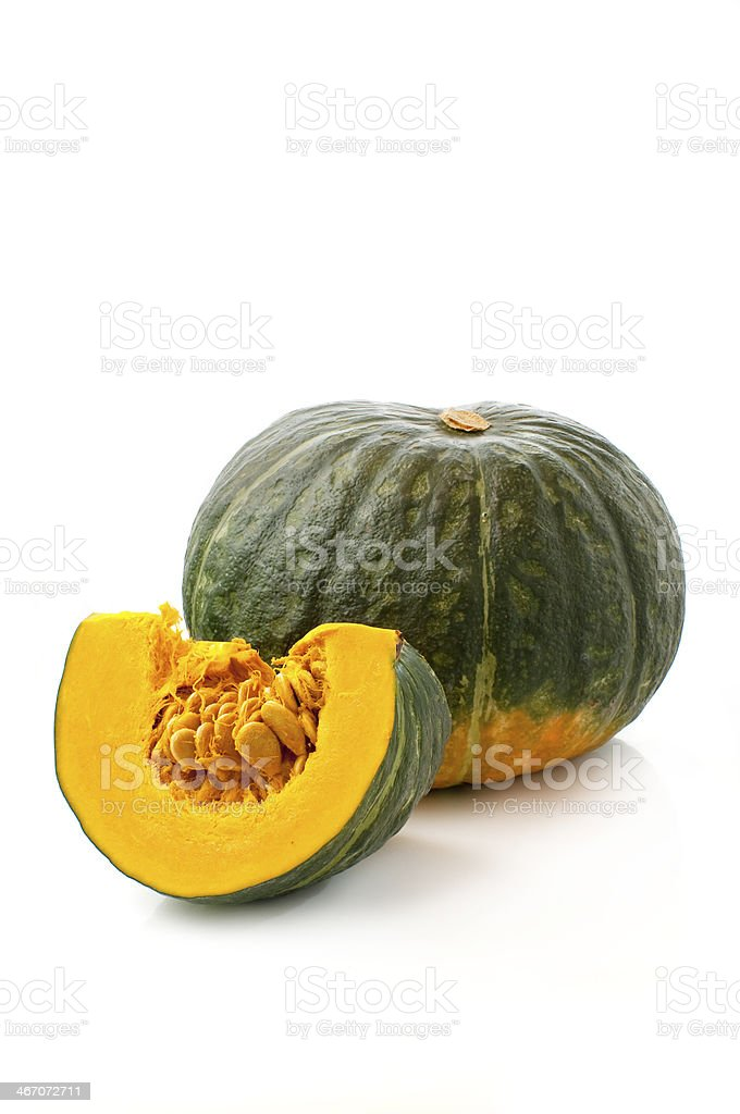 whole and sliced pumpkin stock photo