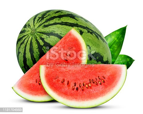 whole and slices watermelon with green leaves isolated on white background