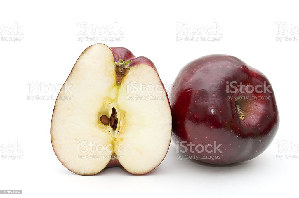 Whole  apple and half of apple. royalty-free stock photo