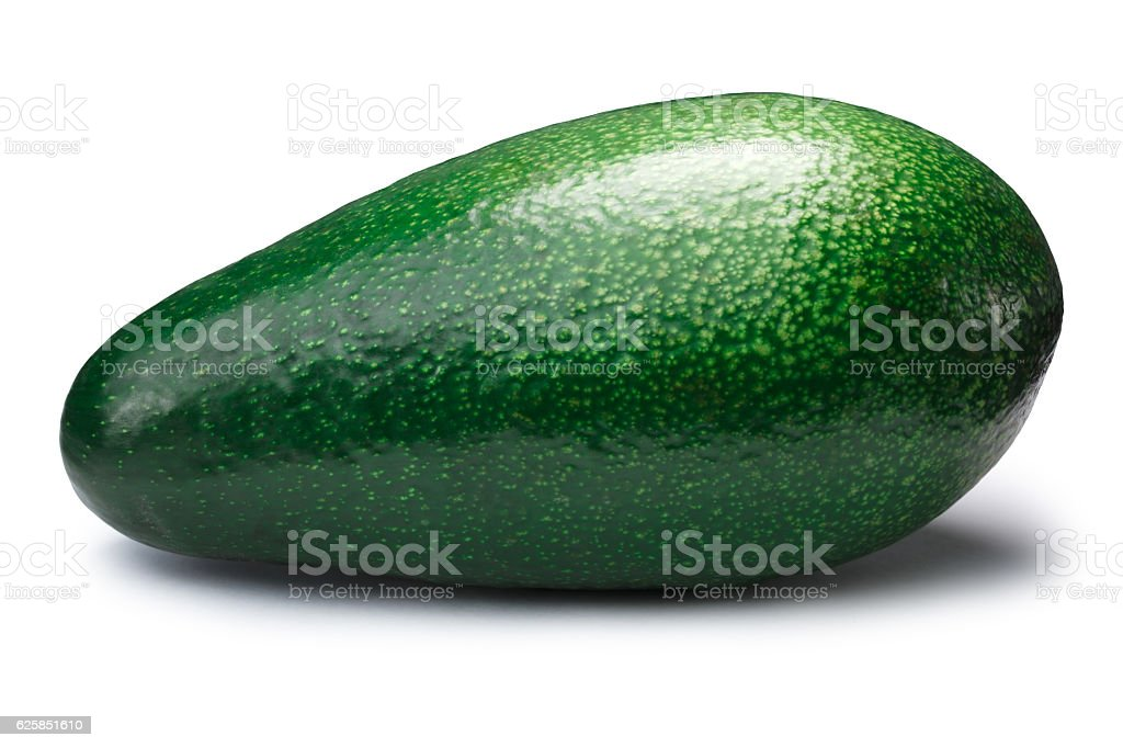 Whole avocado fuerte (Persea americana), paths stock photo
