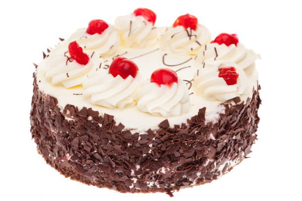 whole black forest cake isolated on white background stock photo