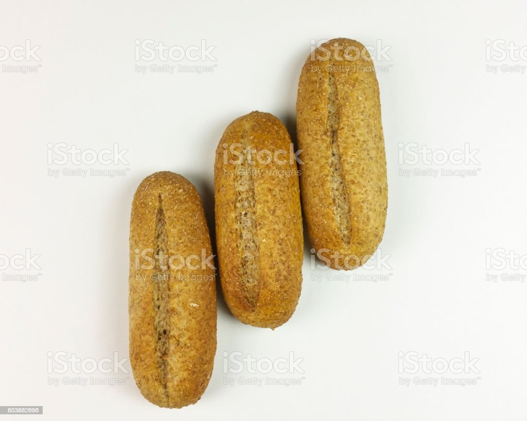 Whole bread on white background - top view stock photo