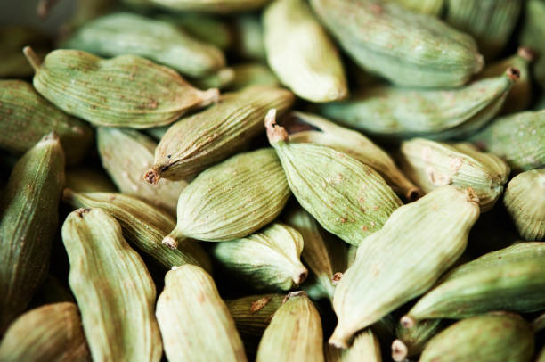Whole Cardamom Close Up of Whole Cardamom Pods cardamom stock pictures, royalty-free photos & images