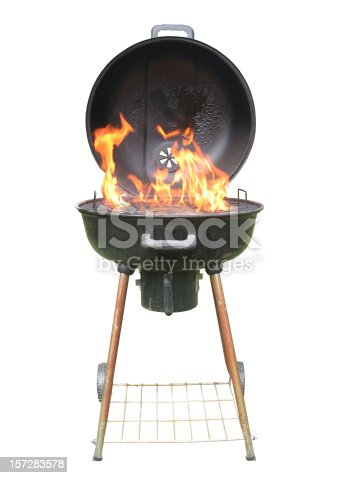 Whole Charcoal Grill with Flames. Isolated white background.
