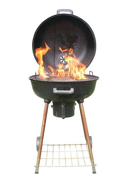whole charcoal grill with flames - barbecue grill stock photos and pictures