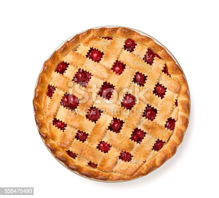 A aerial view of a whole cherry pie on a white background with a clipping path attached.  Please see my portfolio for other food and drink images.