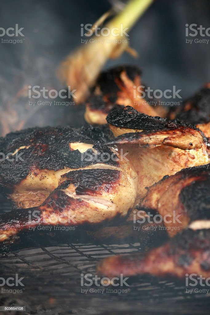 Whole chicken barbeque stock photo