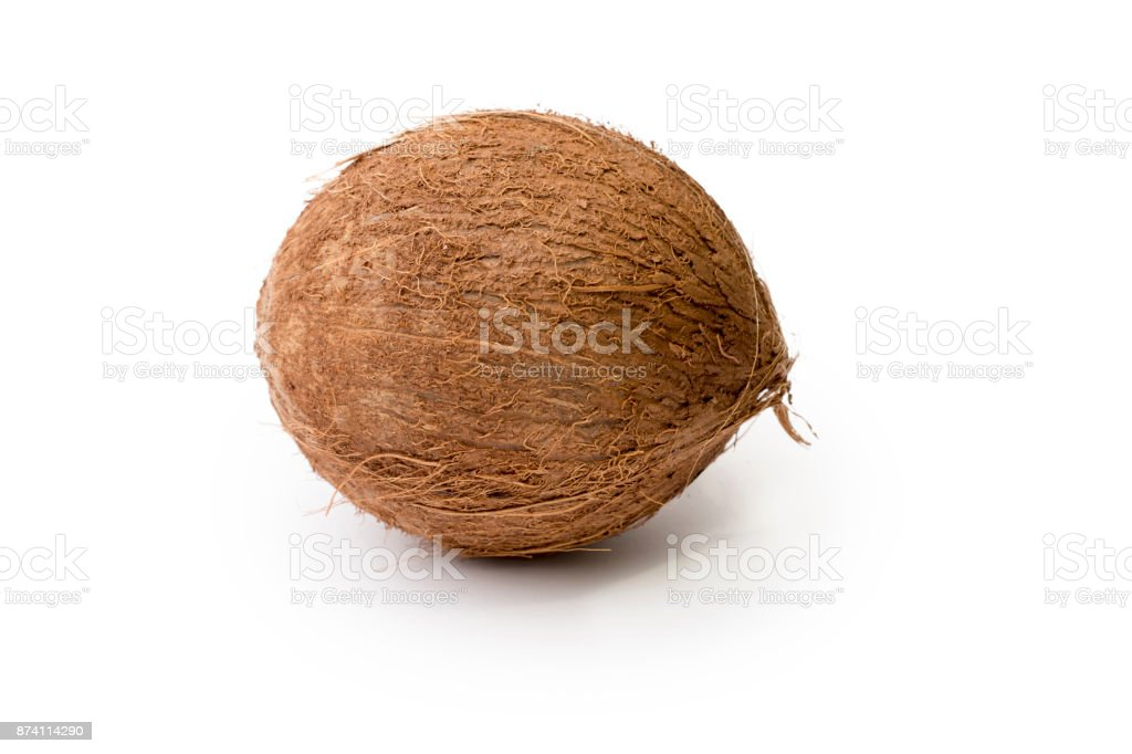 Whole Coconut isolated on purewhite background stock photo