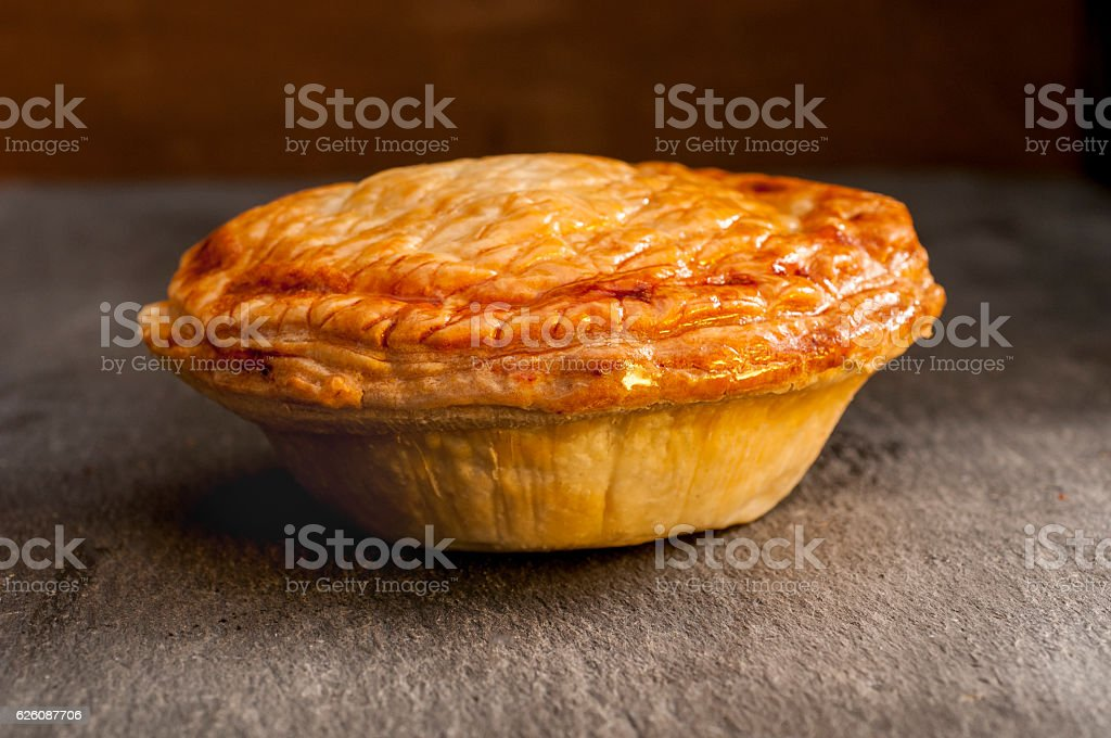 Whole Cooked Pie on a Grey Background stock photo