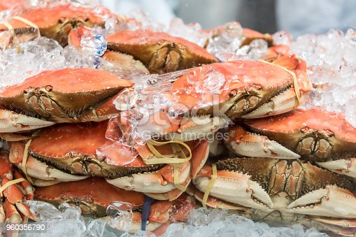 Whole crabs for sale in a fish market
