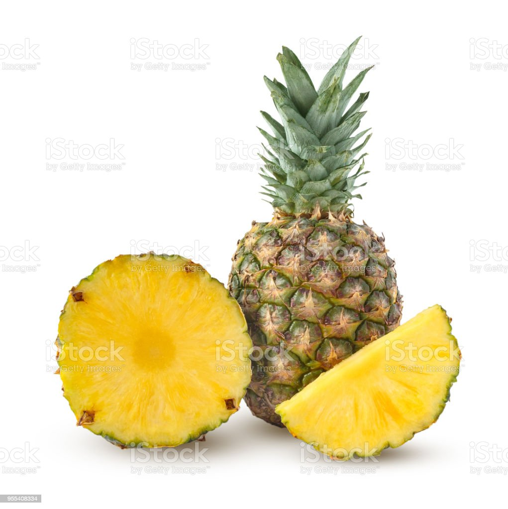Whole, cut half and slice of pineapple isolated on a white background - Zbiór zdjęć royalty-free (Ananas)
