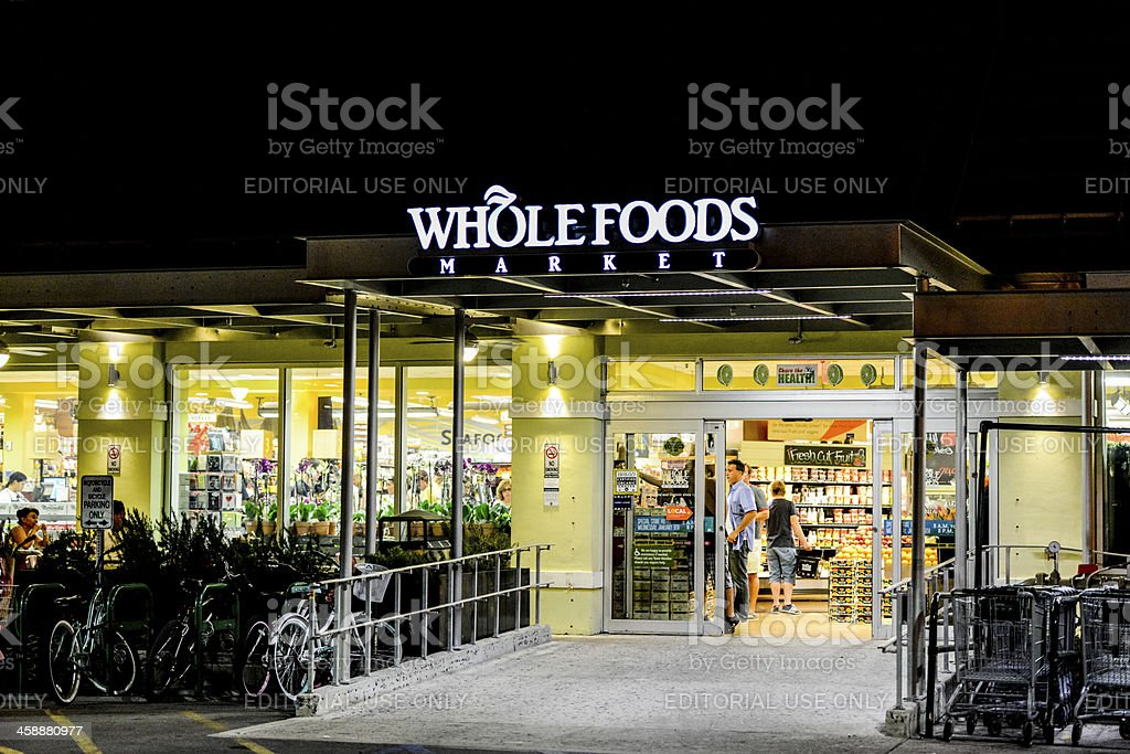 Whole Foods Market at night, Miami Beach royalty-free stock photo