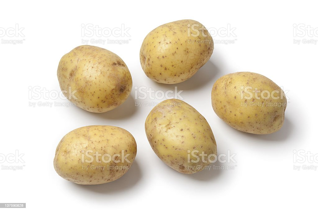 Whole fresh raw potatoes stock photo