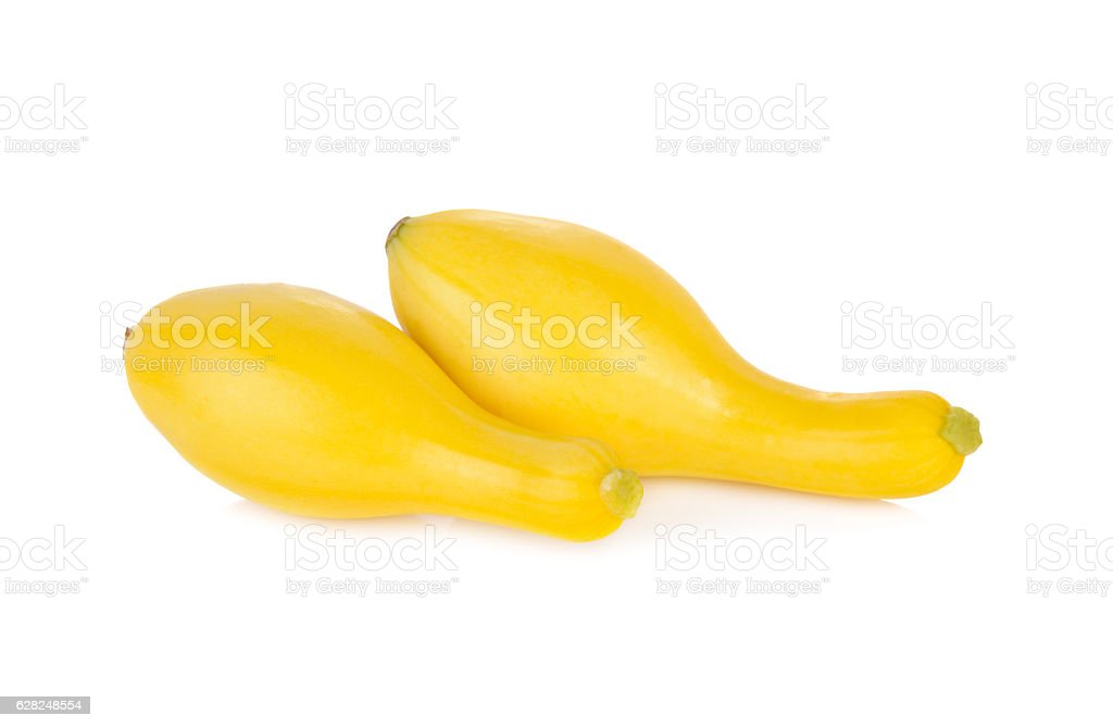 whole fresh squash crookneck on white background stock photo