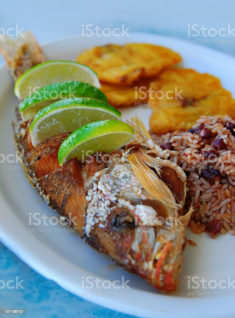 whole fried snapper stock photo
