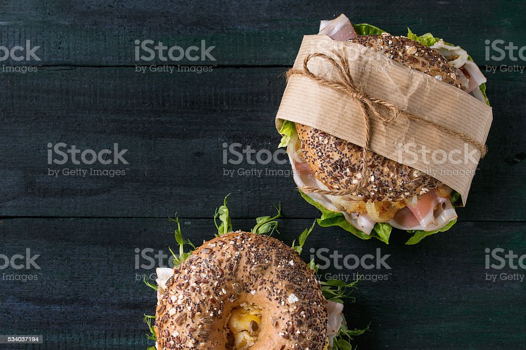 Whole Grain bagel stock photo