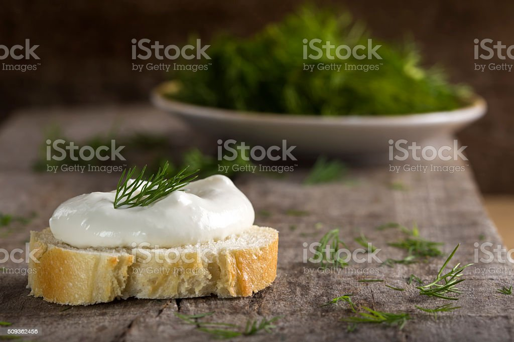 Whole Grain Bagel with Cream Cheese stock photo