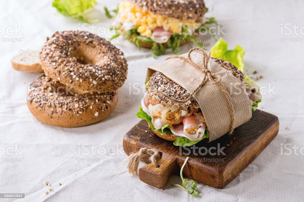 Whole Grain bagels stock photo