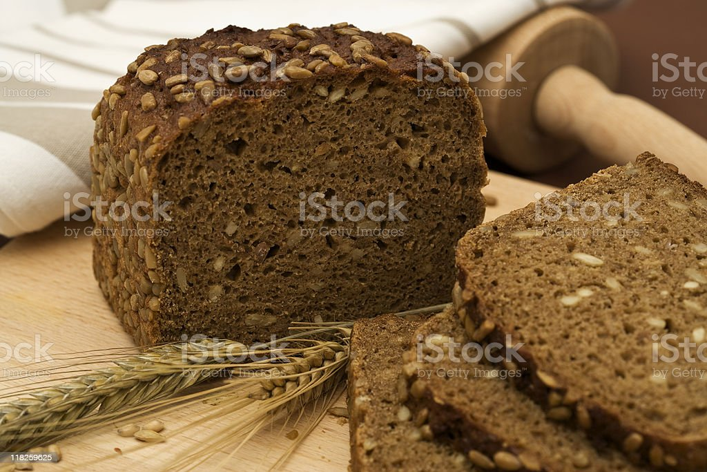 whole grain bread still-life stock photo