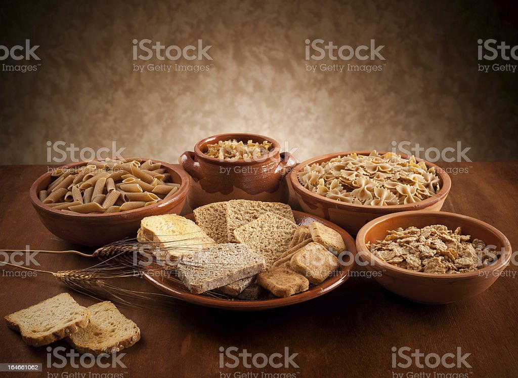 Whole grain carbohydrates stock photo