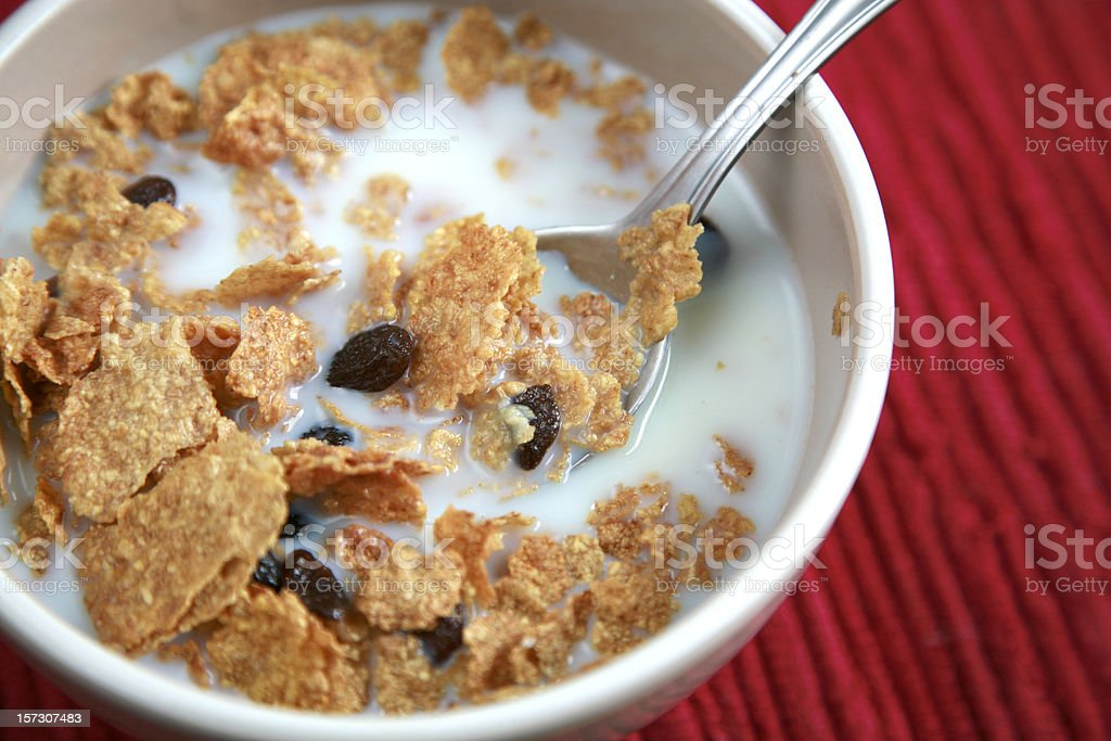Whole Grain Cereal With Raisins stock photo