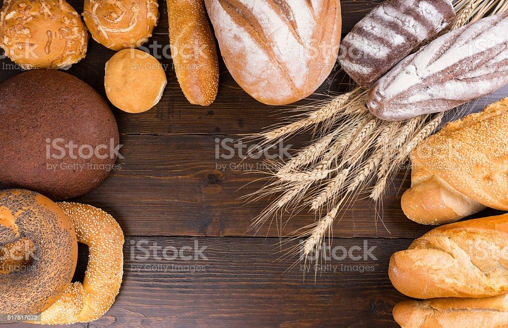 Whole grain food concept frame stock photo