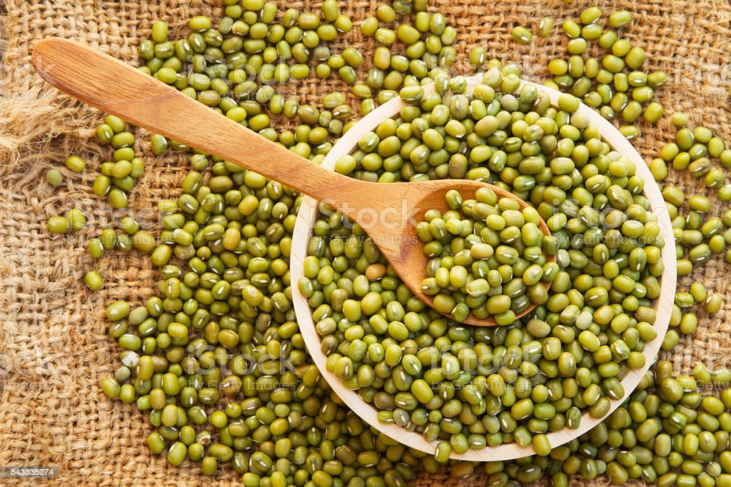 Whole grain mung bean top view, stock photo