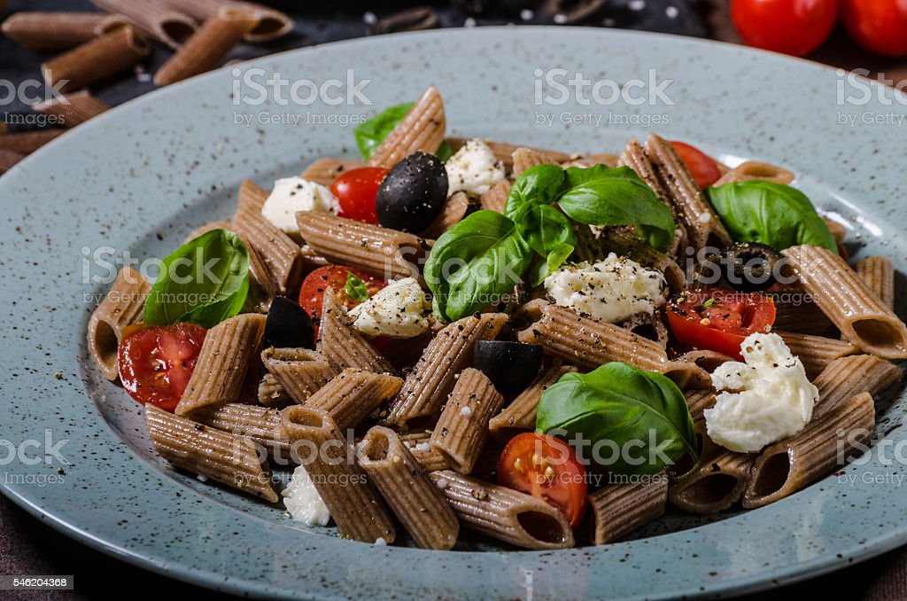 Whole grain pasta stock photo