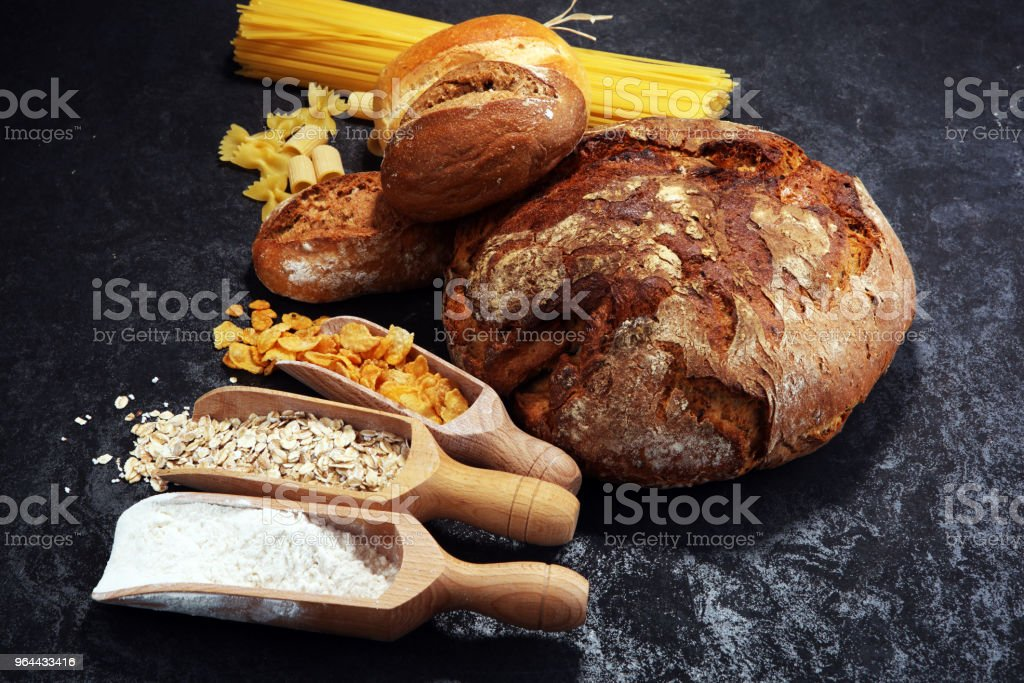 whole grain products with complex carbohydrates - Royalty-free Bread Stock Photo