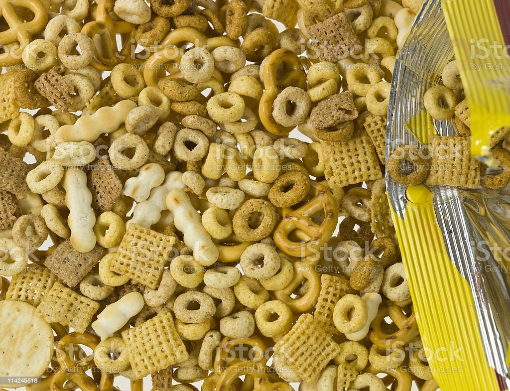 Whole grain snacks coming out of the bag background royalty-free stock photo