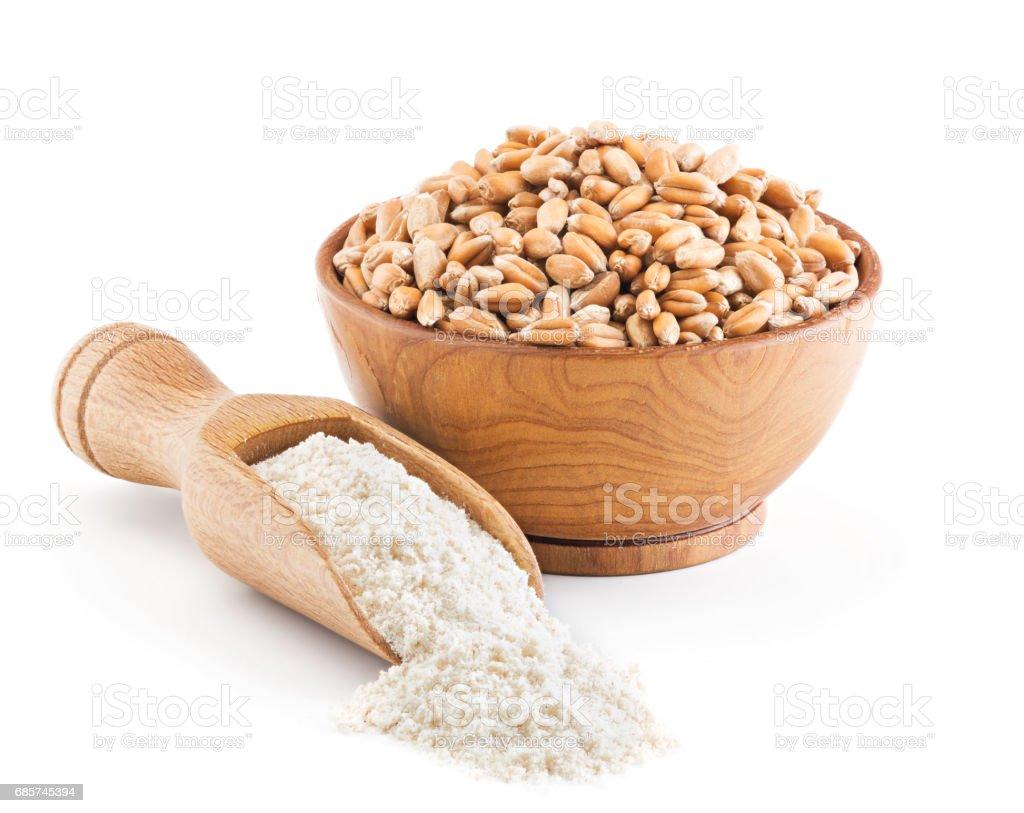 Whole grain wheat flour isolated on white stock photo