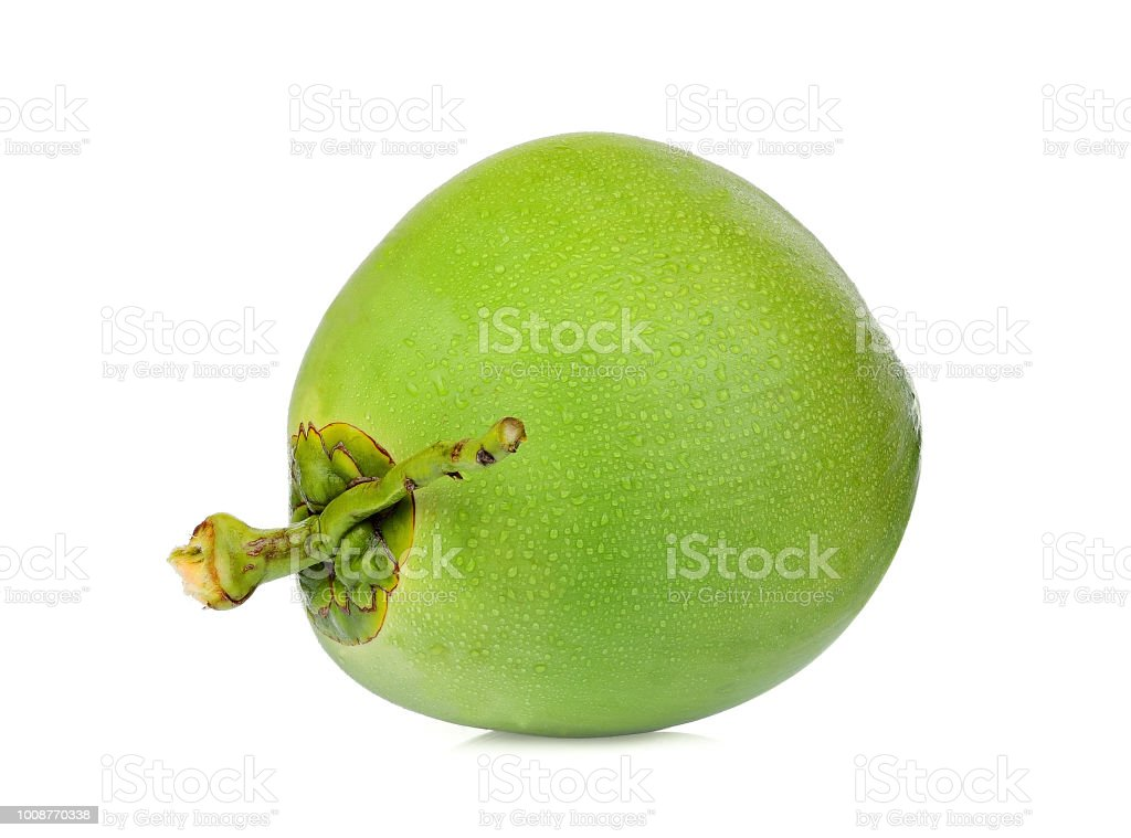 whole green coconut with drop water isolated on white background royalty-free stock photo