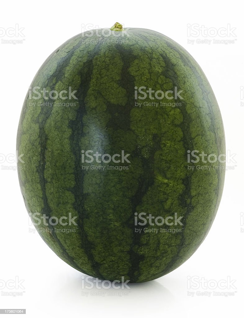 Whole green watermelon (Clipping Path) royalty-free stock photo