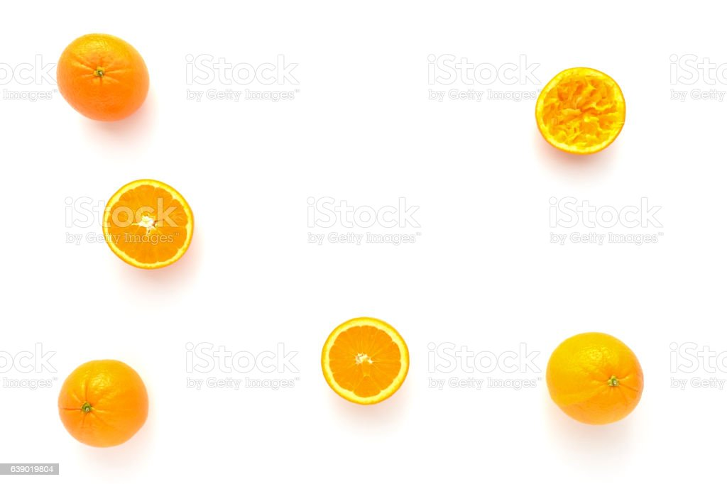 Whole, Halved and Squeezed Oranges – Foto