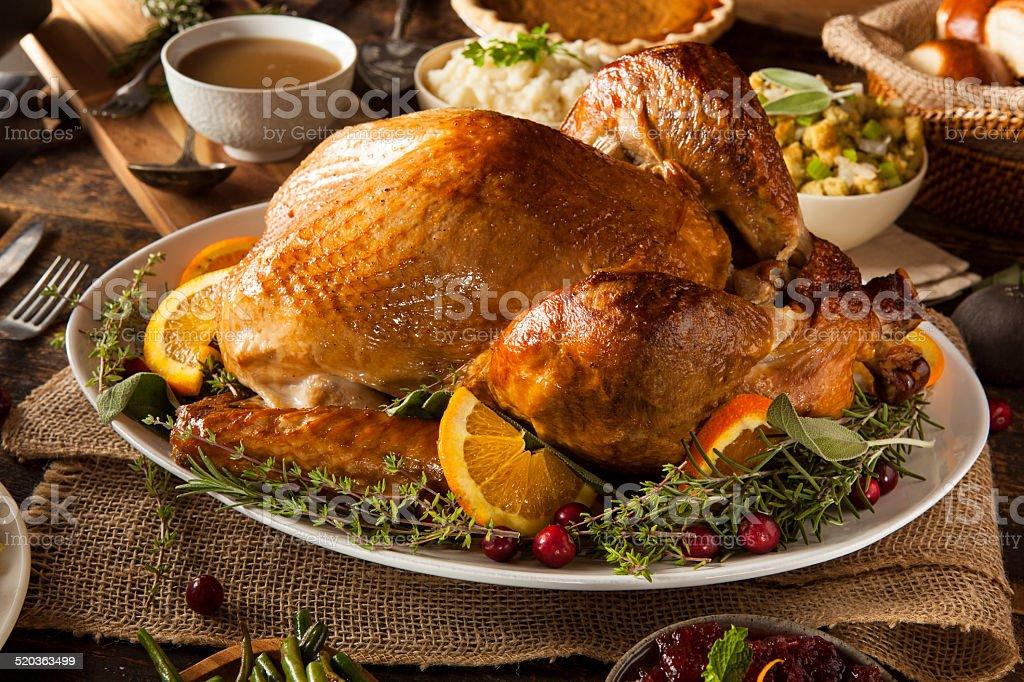 Whole Homemade Thanksgiving Turkey stock photo