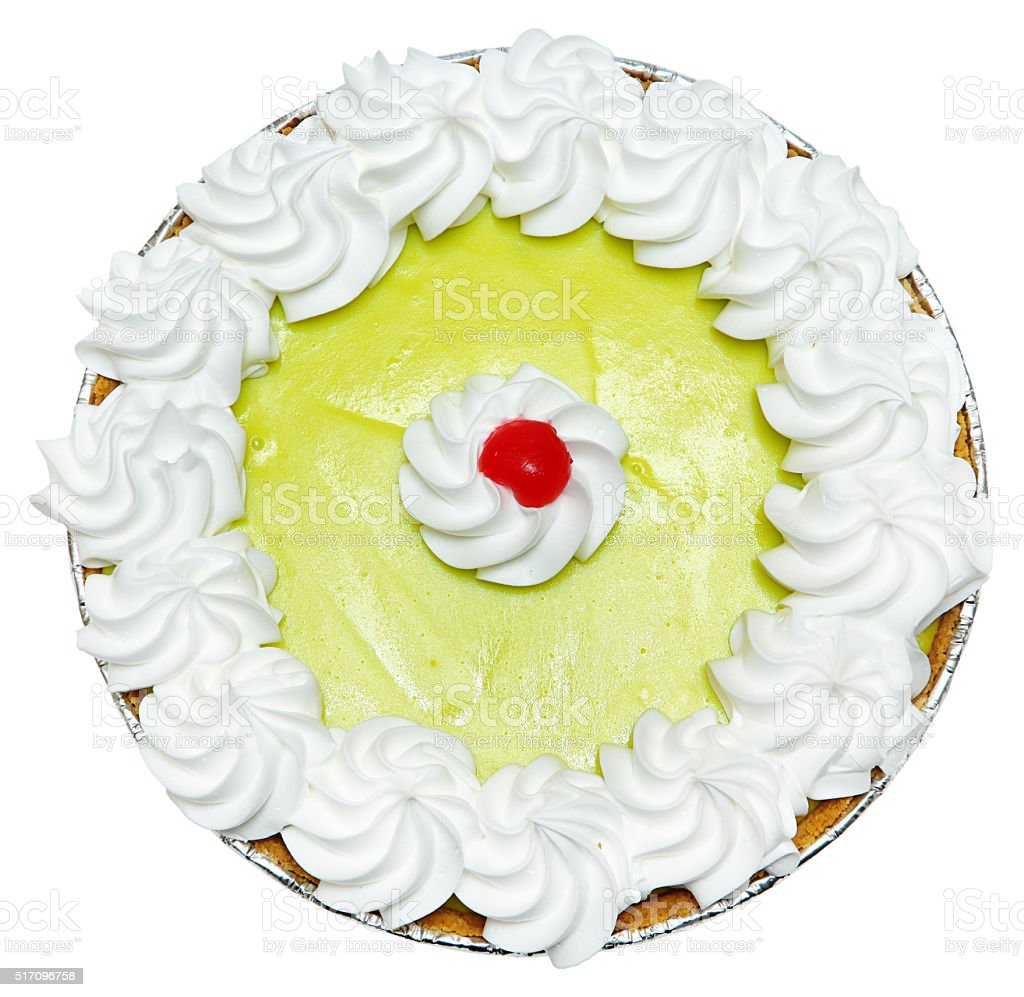 Whole Keylime Pie with Cherry on Top stock photo