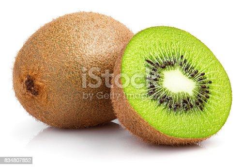 Ripe whole kiwi fruit and half kiwi fruit isolated on white background