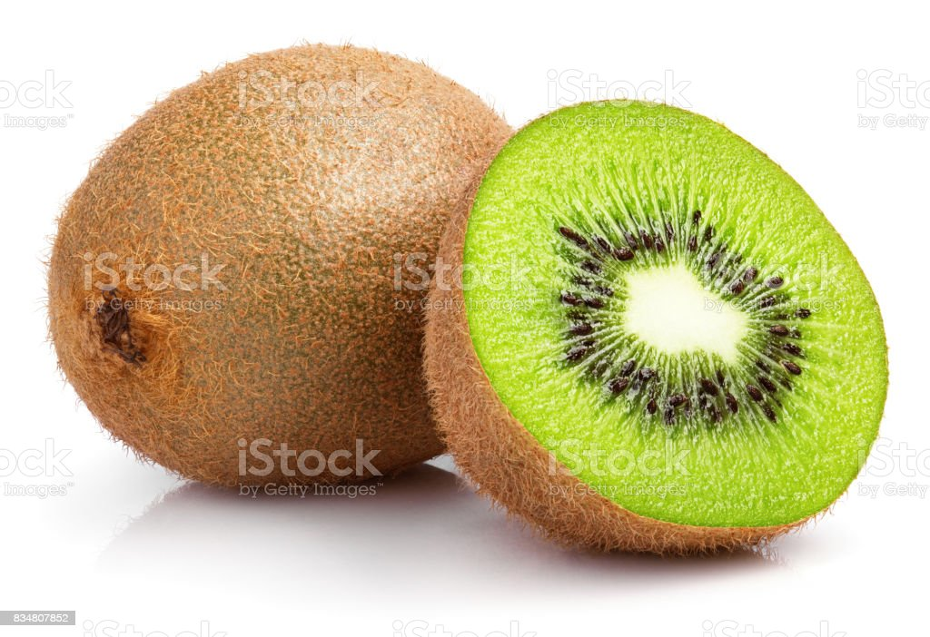 ensemble de kiwis et demi kiwis sur blanc - Photo